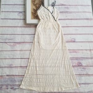 Anthro Maeve Ivory Sheer Stripe Jersey Maxi Dress